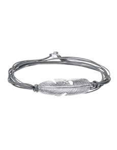 Silver Feather and Grey Silk Cord Bracelet!