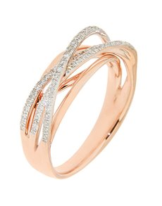 9KT Rose Gold Diamond Cross Over Ring!