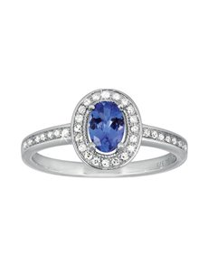 9ct White Gold Tanzanite Diamond Ring 0.52ct!
