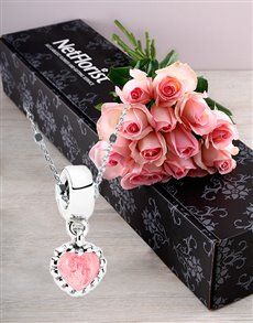 Pink Roses and  Pink Heart Charm Necklace