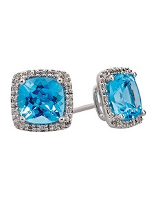 Picture of Blue Topaz And Diamond Earrings!