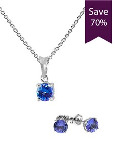 Picture of 9KT White Gold Tanzanite Pendant Earring Special!