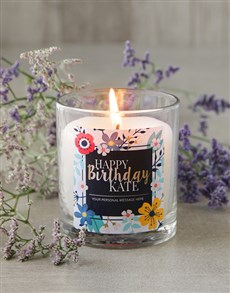 Picture of Personalised Floral Happy Birthday Candle!