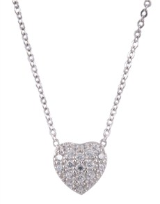 Pendants and Chains - Silver: Silver Pave Heart Necklace!