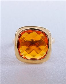 Rings - All Rings: Silver Gold Plated Citrine Ring!