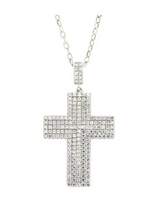 Pendants and Chains - Silver: Silver Micro Pave Cubic Cross Necklace!