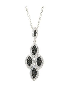 Pendants and Chains - Silver: Silver Micro Pave Black and White Cubic Necklace!