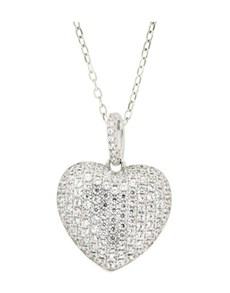 Pendants and Chains - Silver: Silver Micro Pave Heart Cubic Neckalce!