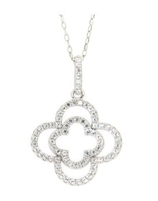 Pendants and Chains - Silver: Silver Double Flower Cubic Necklace!